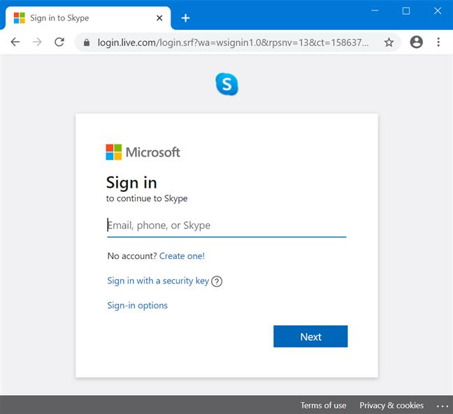 Abra Skype para Web e inicie sesión