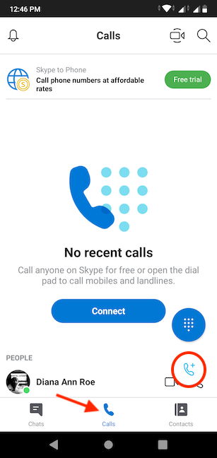 Start a New Call on Skype for Android