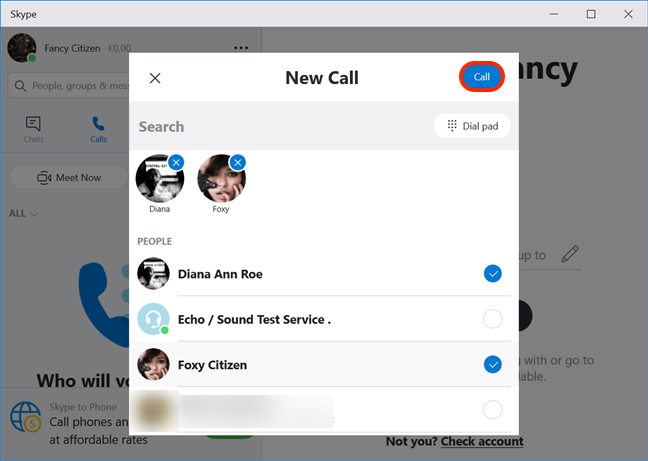 Select the people you want in your conference and press Call