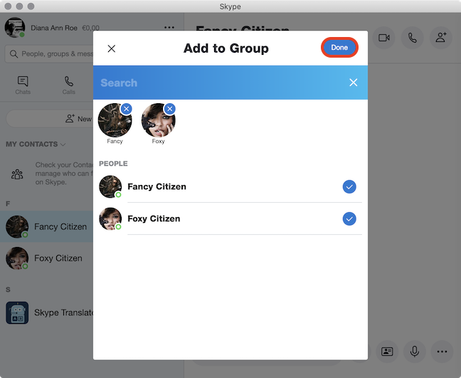 Choose the people to Add to Group and click Done