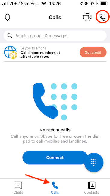 Begin a New Call with Skype on your iPhone