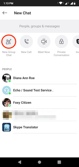 Choosing to create a New Group Chat in Skype for Android