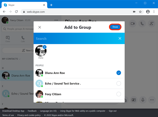 Choose which contacts you add to the group