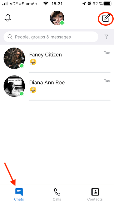 Access chats and press New Chat