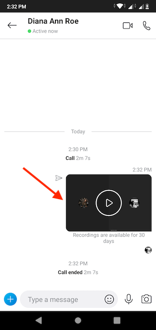 Skype posts the recording for you in the chat window