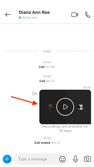 Skype posts the recording in the chat window