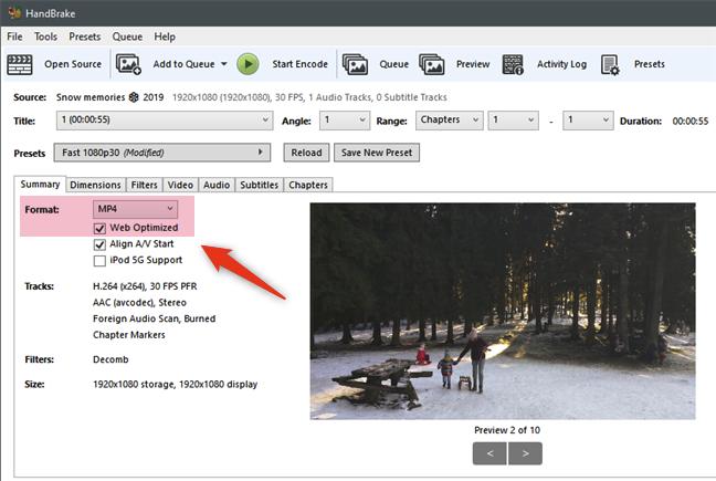 Choosing the MP4 Web Optimized format