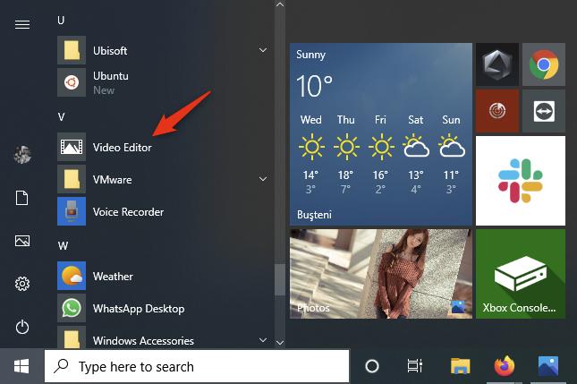 The Video Editor shortcut from Windows 10's Start Menu