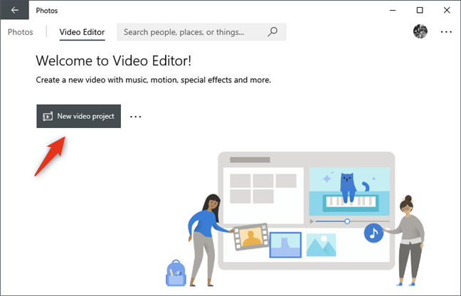The New video project button