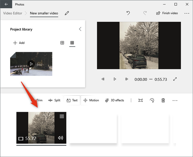 Drag and drop the video from the Project library onto the storyboard