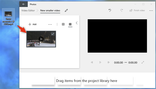 Drag and drop the video onto the Video Editor window