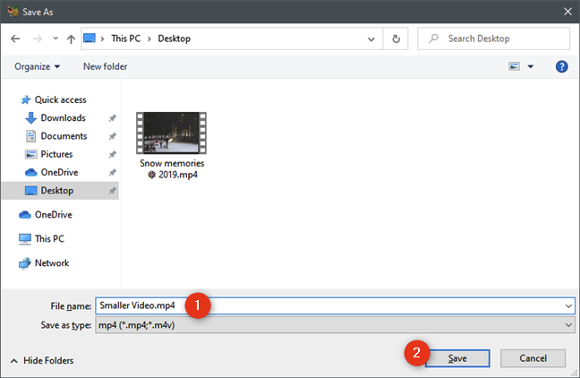 Choosing where to save the smaller video file