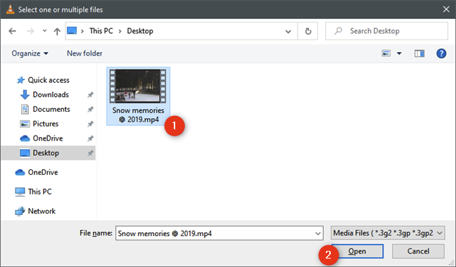 Selecting the video file to shrink