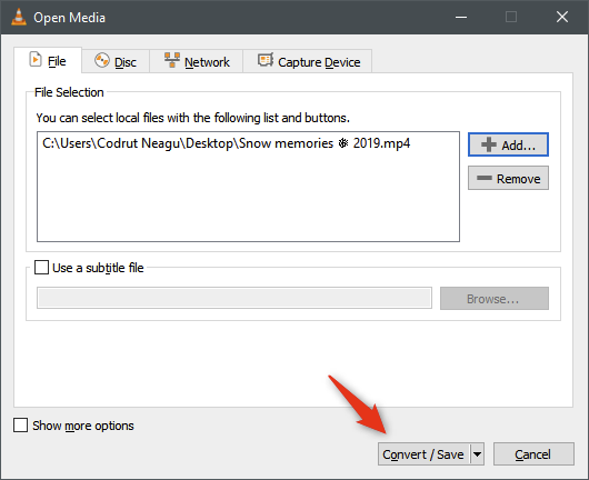 The Convert / Save button from VLC's Open Media window