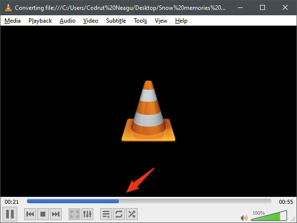 Monitoring the video conversion in VLC