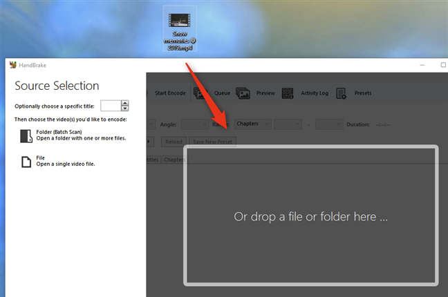 Loading a video file in Handbrake