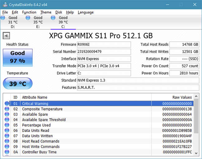CrystalDiskInfo shows detailed information about a drive using SMART