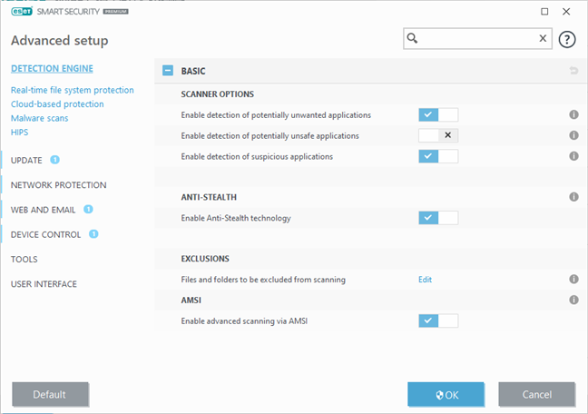The advanced settings available in ESET Smart Security Premium