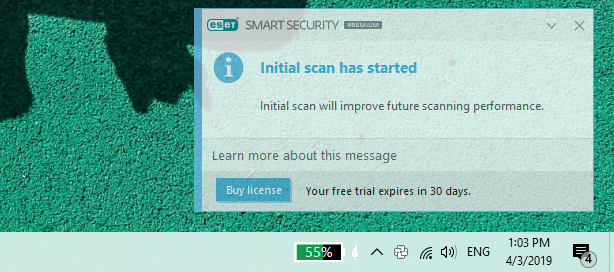 Notification displayed by ESET Smart Security Premium