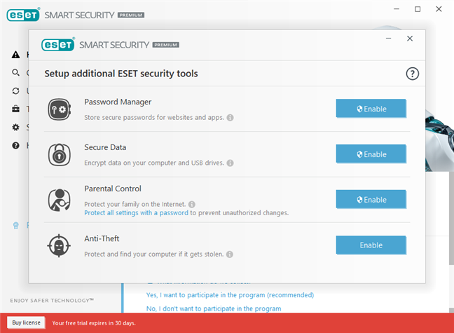 Choosing the additional ESET security tools to enable
