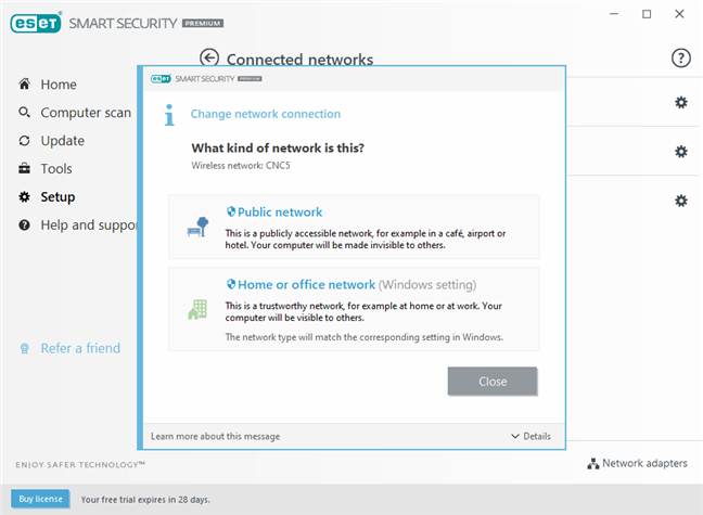 ESET firewall options for the network protection type