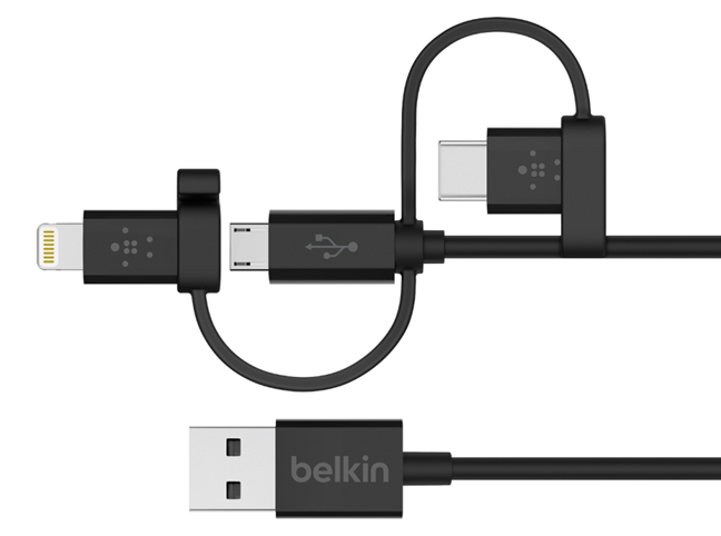 Universal Cable with Micro-USB, USB-C and Lightning Connectors from Belkin