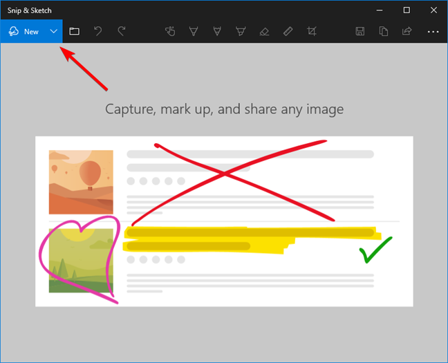 The New button for taking screenshots with Snip & Sketch