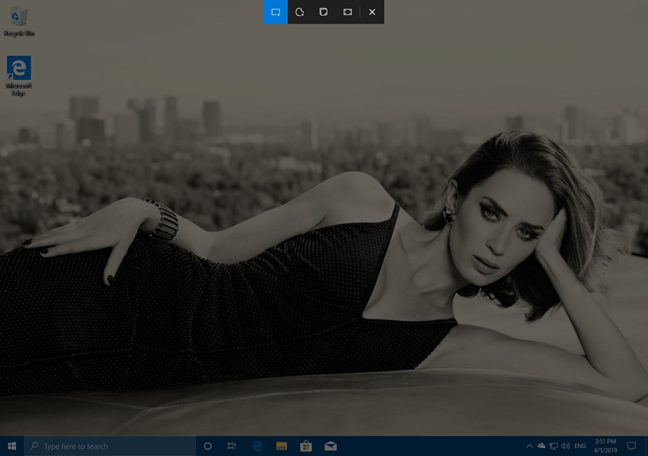 The snipping bar shown by Snip & Sketch in Windows 10