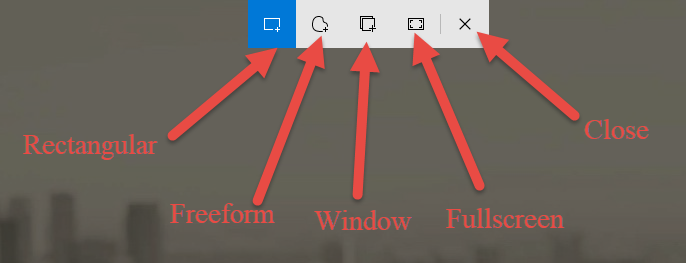The buttons on the snipping bar