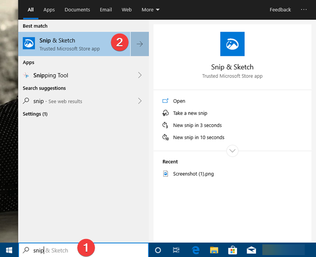 Using Windows 10 search to find Snip & Sketch