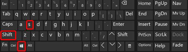 Windows + Shift + S keyboard shortcut for Snip & Sketch