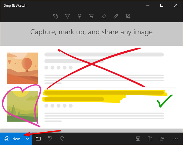 The New button on the bottom of a small Snip & Sketch window