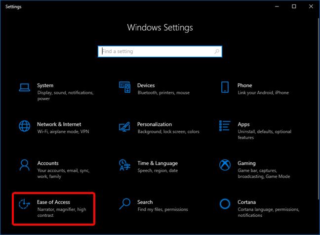 Open Ease of Access in Windows 10 Settings