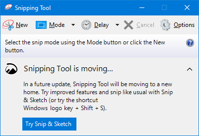Snipping Tool is moving