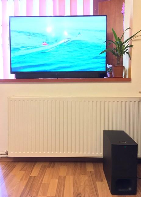 The Sony HT-S350 soundbar mounted on a TV