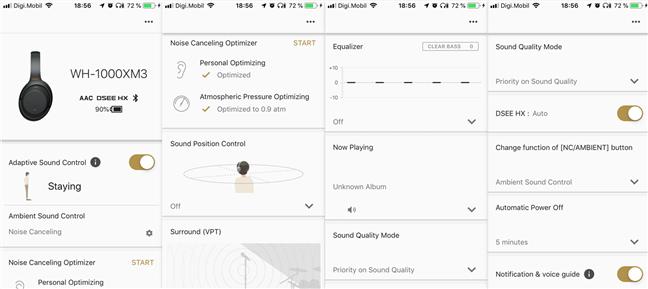 The Sony Headphones Connect app for iOS