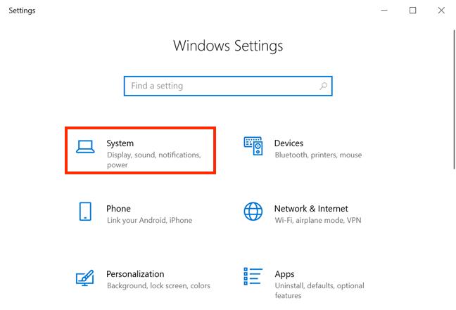 Acceder al sistema desde la configuración de Windows 10