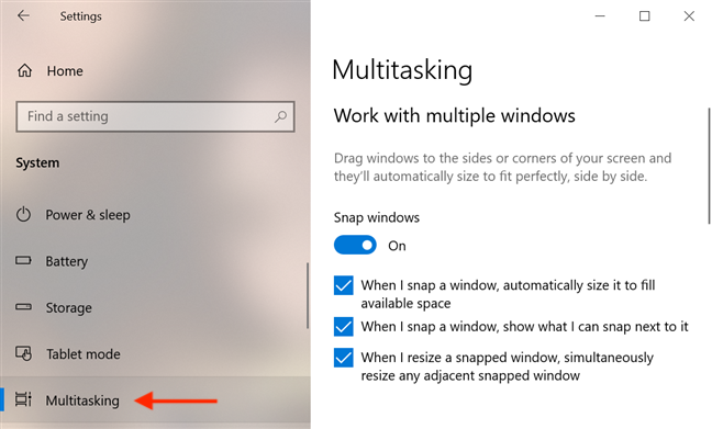 Multitasking settings