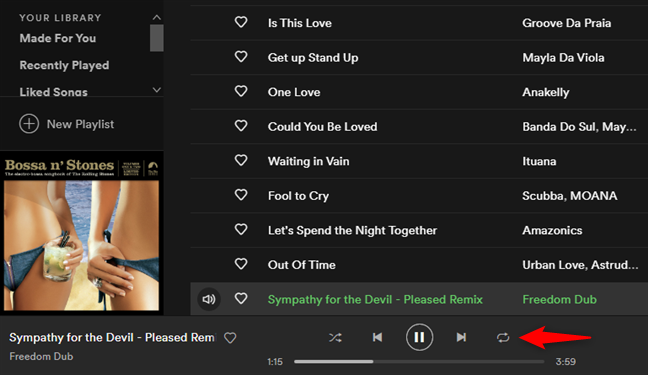 The Repeat button from Spotify for Windows