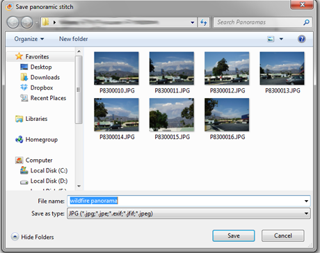 Windows Photo Gallery, panoramas, pictures