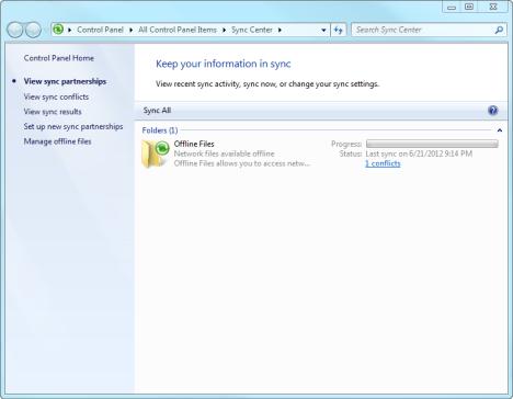 Sync Center in Windows 7