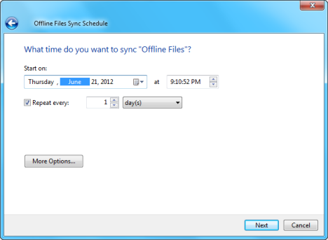 Sync Center Schedule in Windows 7