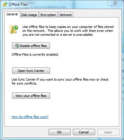 Offline Files in Windows 7