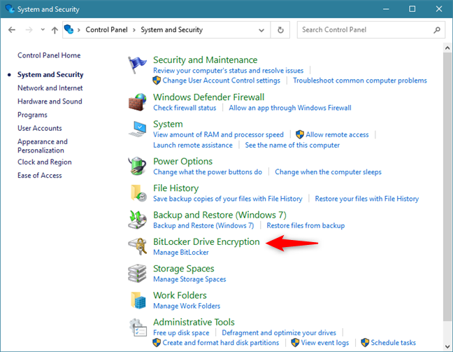 Access BitLocker Drive Encryption from Control Panel