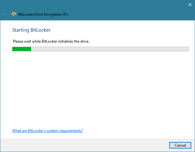 The BitLocker Drive Encryption wizard in Windows 10