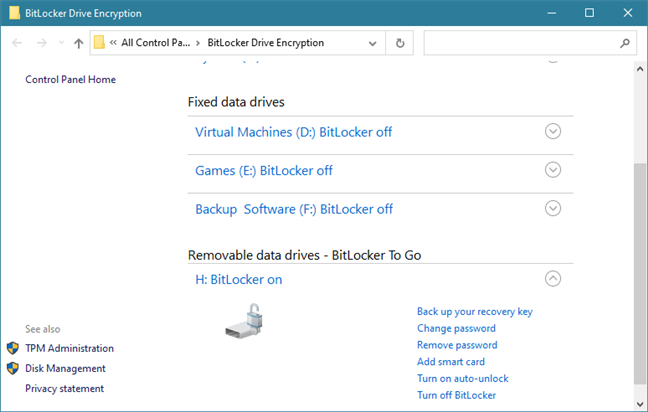 The BitLocker Drive Encryption section from the Control Panel