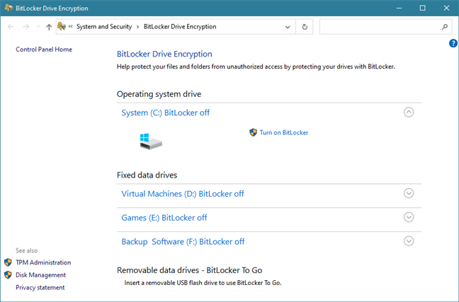 The BitLocker Drive Encryption window