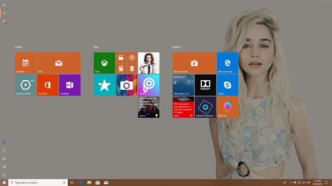 The Windows 10 Start Menu taking the whole screen