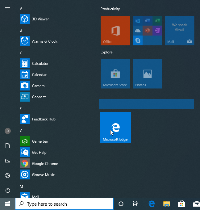 Create a new group on the Start Menu