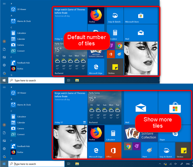 Windows 10 Start Menu with the default tiles and more tiles